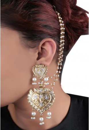 24K Gold plated (99.9%) silver Nama dual plated earring with floral & peacock motifs and pearl drop with pearl chain