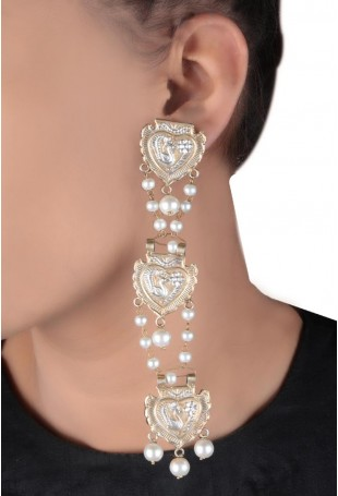 24K Gold plated (99.9%) silver Nama dual plated earring with peacock motifs and pearl drop with pearl chain