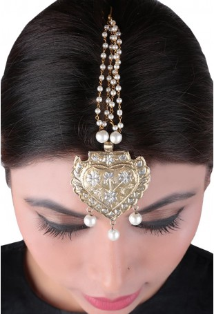 24K Gold plated (99.9%) silver Nama dual plated maangtika with floral motifs and pearl drop with pearl chain hanging