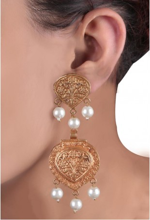 24K Gold plated (99.9%) silver Nama geru gold plated earring with floral motifs and pearl drop with pearl chain hanging