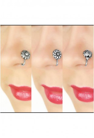 Floral Bliss Set of 3 Sterling silver Nose Pins