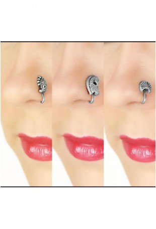 Flora & Fauna set of 3 sterling silver nose clips
