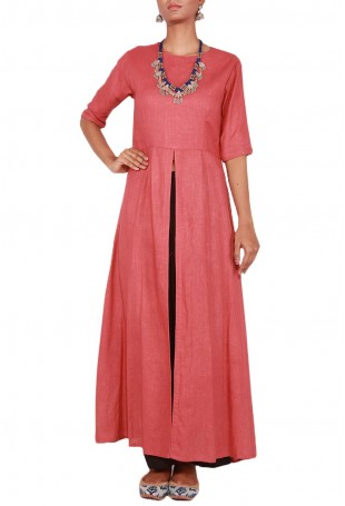 Coral Pink Cotton Linen Kurta with Front Slit