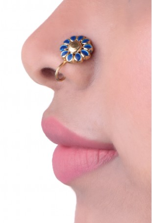 Blue gold plated Enamel Nosepin