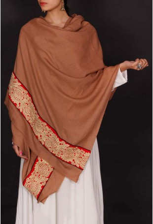 Brown thread embroidered shawl