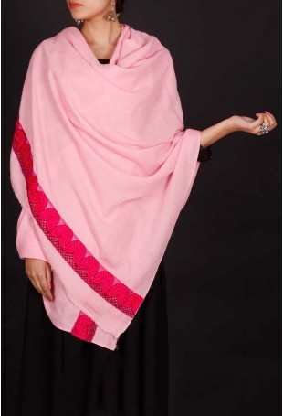 Pink thread embroidered shawl