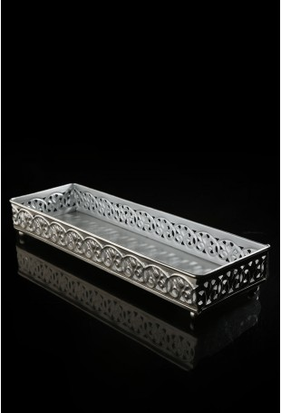 Silver finish tray with jaali pattern