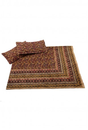 Kalamkari Cotton Double Bedspread with two matching Pillow Covers