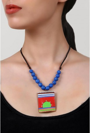 Rising Sun Terracotta Necklace And Earring Set