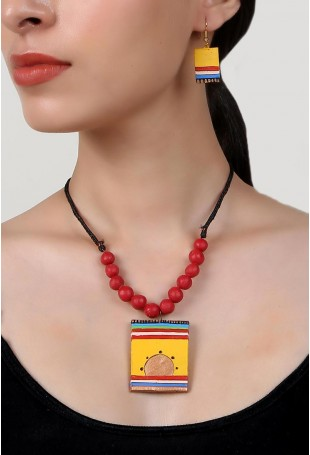 Helios Terracotta Necklace And Earring Set