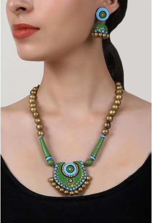Emerald Love Terracotta Necklace And Earring Set