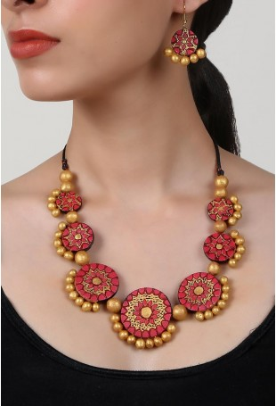Seven Sun Paradise Terracotta Necklace And Earring Set
