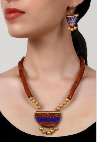 Balanced Crescent Terracotta Necklace And Earring Set