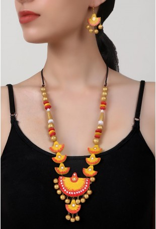 Golden Allure Terracotta Necklace And Earring Set