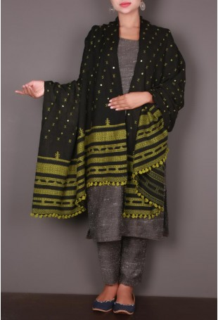 Black Kutch Shawl with Green Embroidery