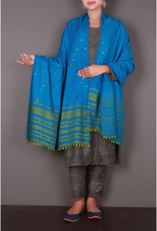 Blue-Green Mirror Embroidered Kutch Shawl