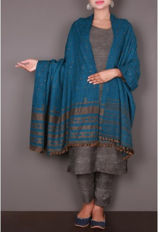 Deep Turquoise Mirror Embroidered Kutch Shawl