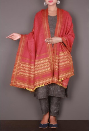 Red Embroidered Kutch Shawl