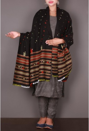 Black Kutch Shawl with Multicolored Thread Embroidered Border