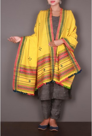 Yellow Embroidered Kutch Shawl with Red Border