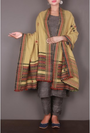 Beige-Red Embroidered Kutch Shawl