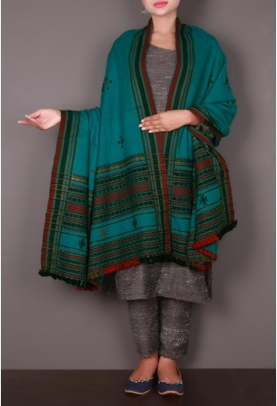 Turquoise-Red Embroidered Kutch Shawl