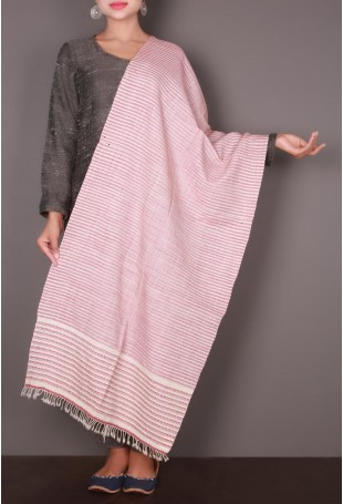 Pink-White Striped Embroidered Kutch Stole