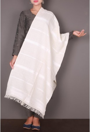 White Striped Embroidered Kutch Stole