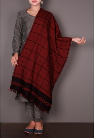 Maroon Checkered Embroidered Kutch Stole
