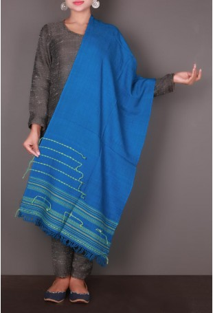 Blue Thread Embroidered Kutch Stole
