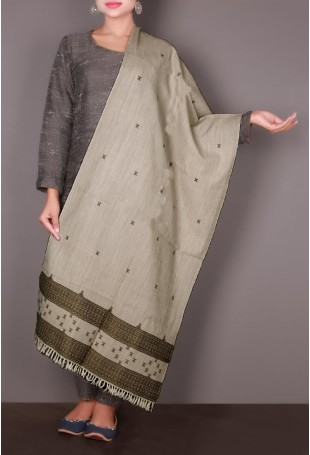 Off-white & Brown Embroidered Kutch Stole
