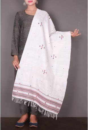 White with Red Embroidery Kutch Shawl