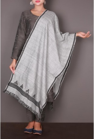 Grey with Black Mirror Embroidered Kutch Stole