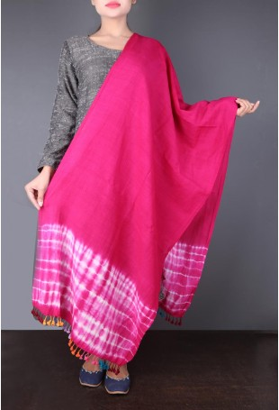 Pink Woolen Stole with Multicolored Tassels