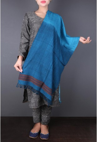 Blue Shaded Woolen Stole with Red Striped Threadwork