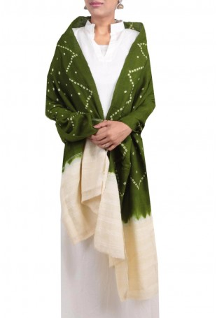 Olive green & white mirror embroidered bandhani shawl