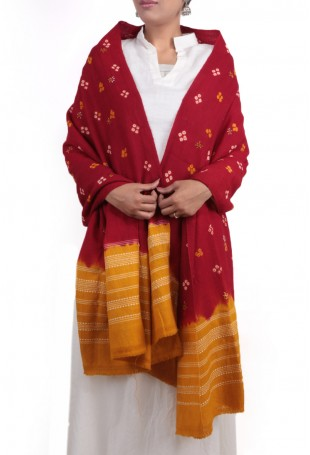 Red & yellow mirror embroidered bandhani shawl