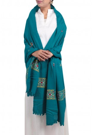 Light Blue kutch embroidered pure wool shawl