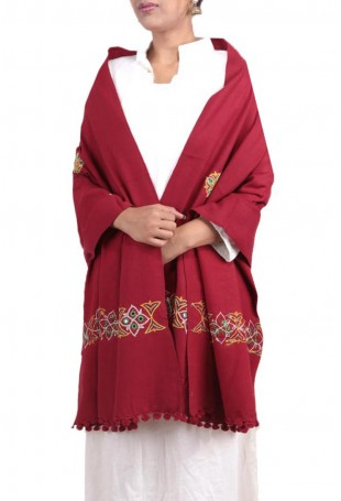 Red kutch embroidered pure wool shawl