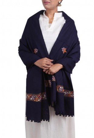 Denim blue kutch embroidered pure wool shawl