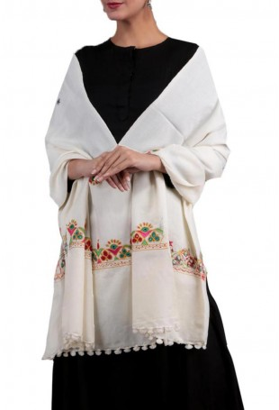 White shaded kutch embroidered pure wool shawl