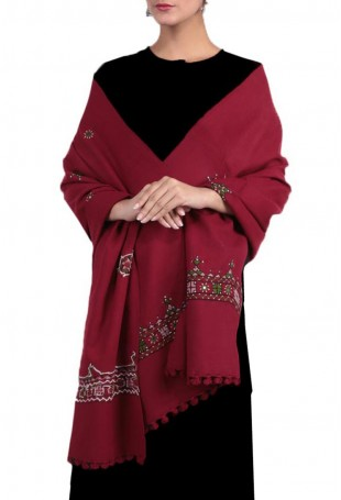 Magenta red kutch embroidered pure wool shawl