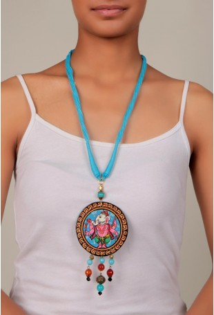 Hand Painted Pattachitra Standing Ganesha Pendant Necklace