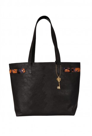 Black Kalamkari Tote Bag
