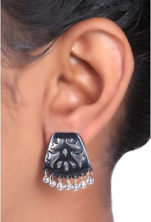 Black Earrings with silver balls and floral motifs