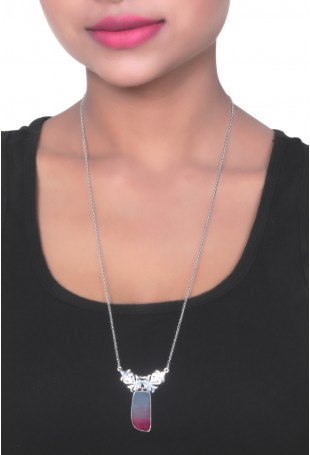Pink Shaded Onyx Silver Necklace