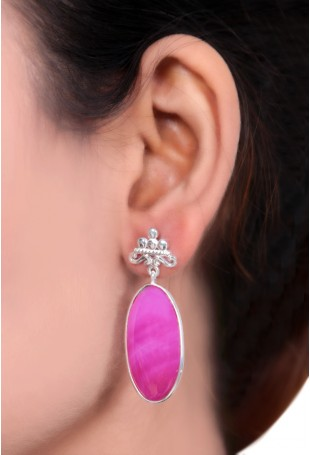 Oval Shaded Pink Onyx Earrings
