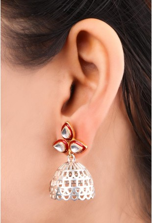 Two-toned Detailed Silver Jhumkis