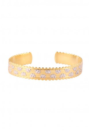 Gold Kada/Bangle with Silver Floral Motifs